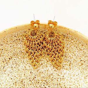 Gold Tone Chain Link Statement Earrings